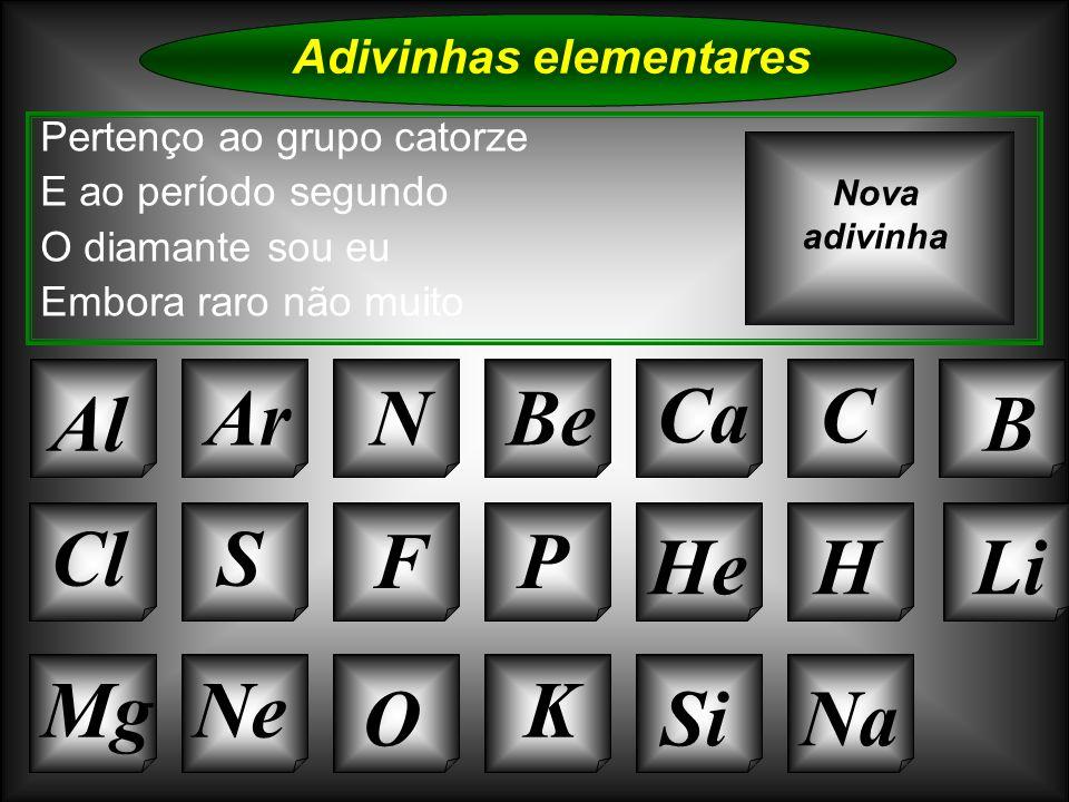 Na Adivinhas elementares AlArNBe CaC B Si Cl O NeMg S FP HeHLi Sou da família do berílio Mas sou de maior tamanho O grupo a que pertenço É o número atómico que tenho Nova adivinha