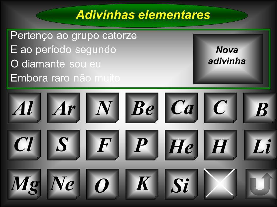 Na Adivinhas elementares Al Pertenço ao grupo catorze E ao período segundo O diamante sou eu Embora raro não muito ArNBe CaC B Nova adivinha K Cl O Ne