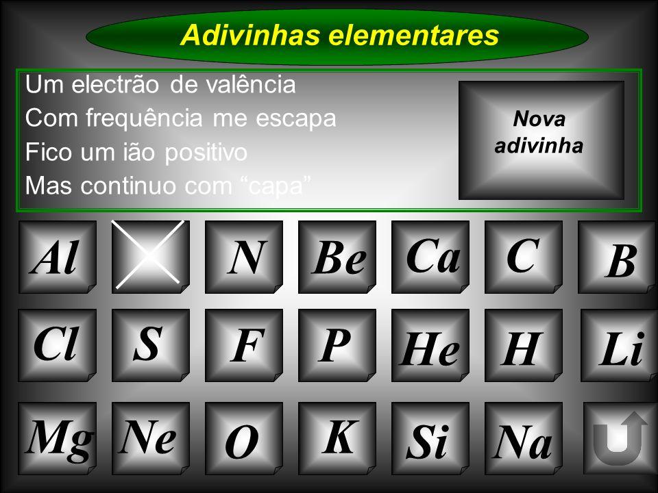 Na Adivinhas elementares Um electrão de valência Com frequência me escapa Fico um ião positivo Mas continuo com capa ArNBe CaC B Nova adivinha K Si Cl