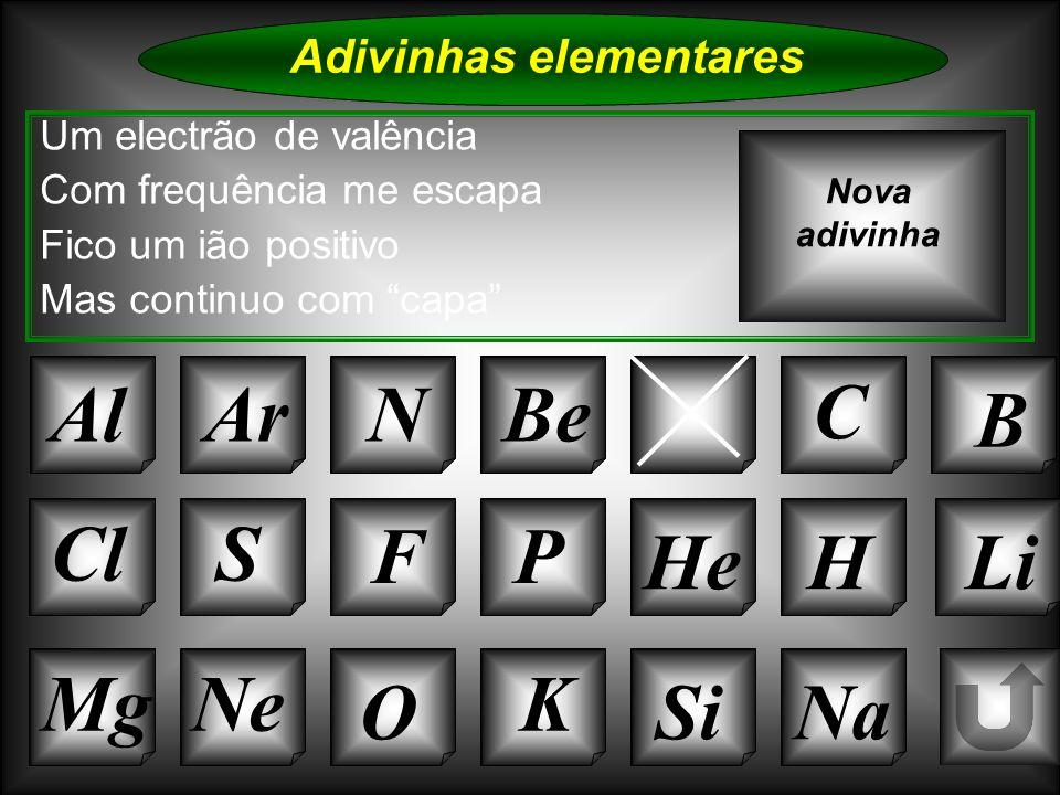 Na Adivinhas elementares Al Um electrão de valência Com frequência me escapa Fico um ião positivo Mas continuo com capa ArN CaC B Nova adivinha K Si C