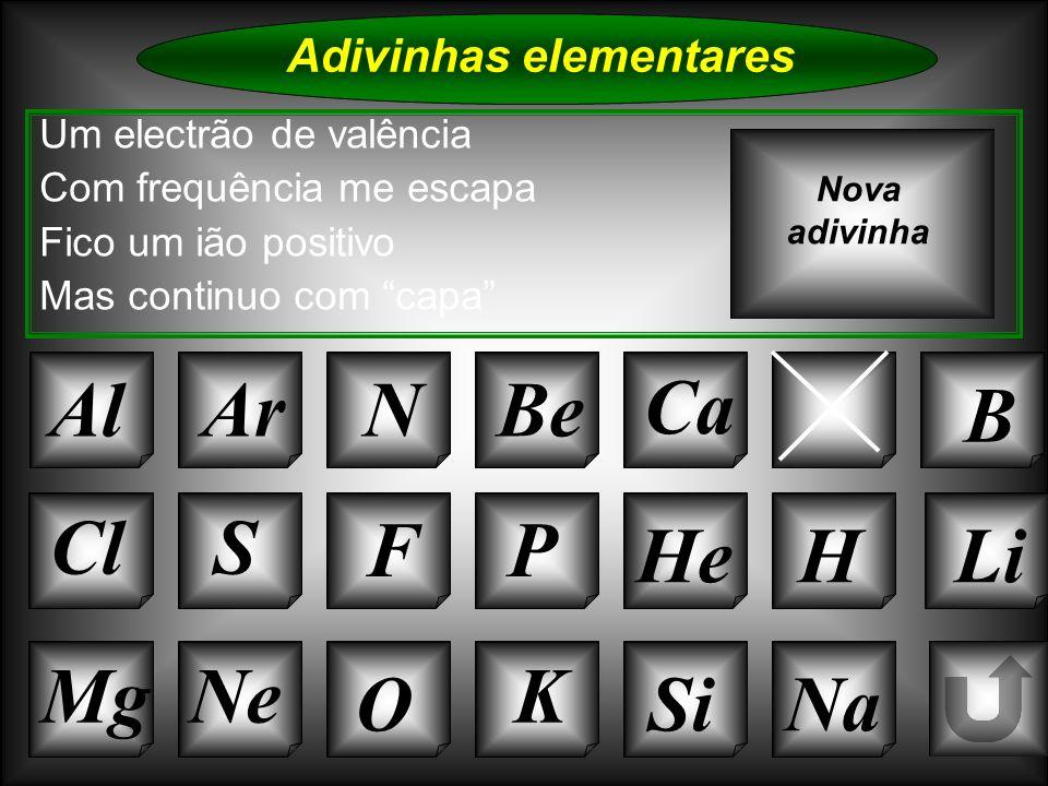 Na Adivinhas elementares Al Um electrão de valência Com frequência me escapa Fico um ião positivo Mas continuo com capa ArNBe C B Nova adivinha K Si C