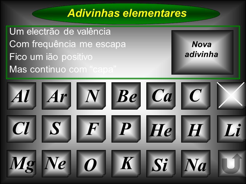 Na Adivinhas elementares Al Um electrão de valência Com frequência me escapa Fico um ião positivo Mas continuo com capa ArNBe Ca B Nova adivinha K Si