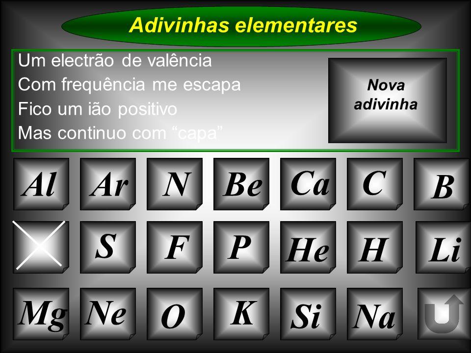 Na Adivinhas elementares Al Um electrão de valência Com frequência me escapa Fico um ião positivo Mas continuo com capa ArNBe CaC Nova adivinha K Si C