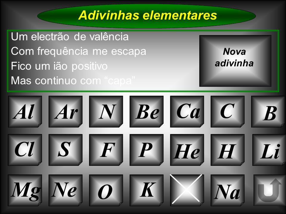Na Adivinhas elementares Al Um electrão de valência Com frequência me escapa Fico um ião positivo Mas continuo com capa ArNBe CaC B Nova adivinha Si C