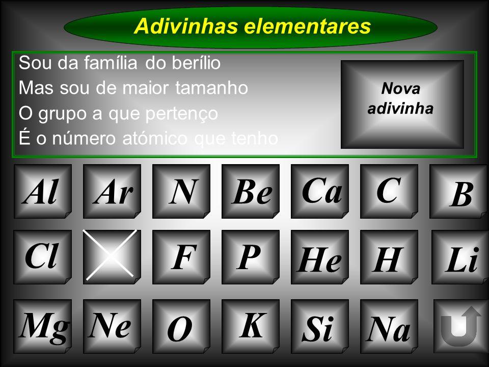 Na Adivinhas elementares AlArNBe CaC B K SiO NeMg S FP HeHLi Sou da família do berílio Mas sou de maior tamanho O grupo a que pertenço É o número atóm