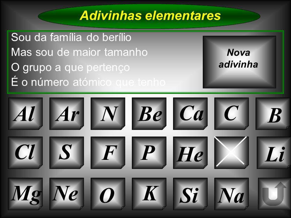 Na Adivinhas elementares AlArNBe CaC B K Si Cl O NeMg S FP HLi Sou da família do berílio Mas sou de maior tamanho O grupo a que pertenço É o número at