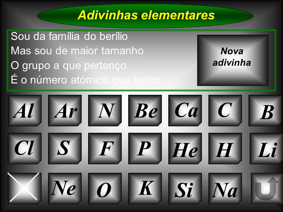 Na Adivinhas elementares AlArNBe CaC B K Si Cl O NeMg S FP HeH Sou da família do berílio Mas sou de maior tamanho O grupo a que pertenço É o número at