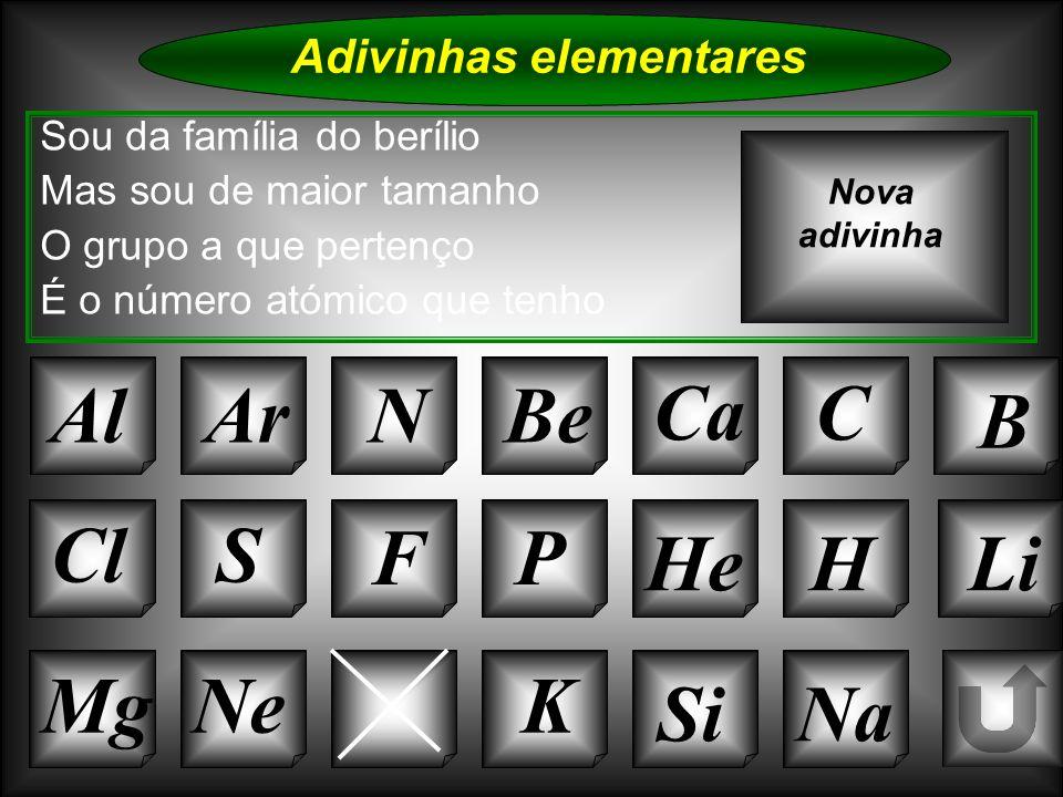 Na Adivinhas elementares AlArNBe CaC B K Si Cl O Mg S FP HeHLi Sou da família do berílio Mas sou de maior tamanho O grupo a que pertenço É o número at