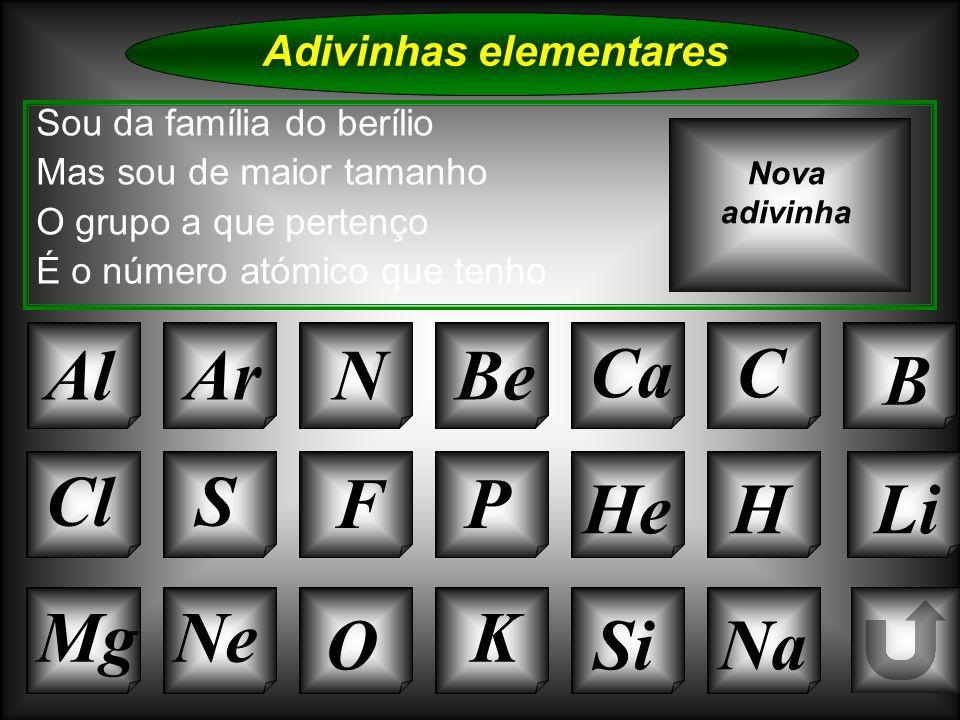 Na Adivinhas elementares AlArNBe CaC B Si Cl O NeMg S FP HeHLi Sou da família do berílio Mas sou de maior tamanho O grupo a que pertenço É o número at