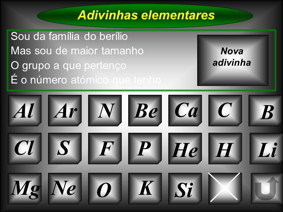 Na Adivinhas elementares AlArNBe CaC B K Cl O NeMg S FP HeHLi Sou da família do berílio Mas sou de maior tamanho O grupo a que pertenço É o número ató