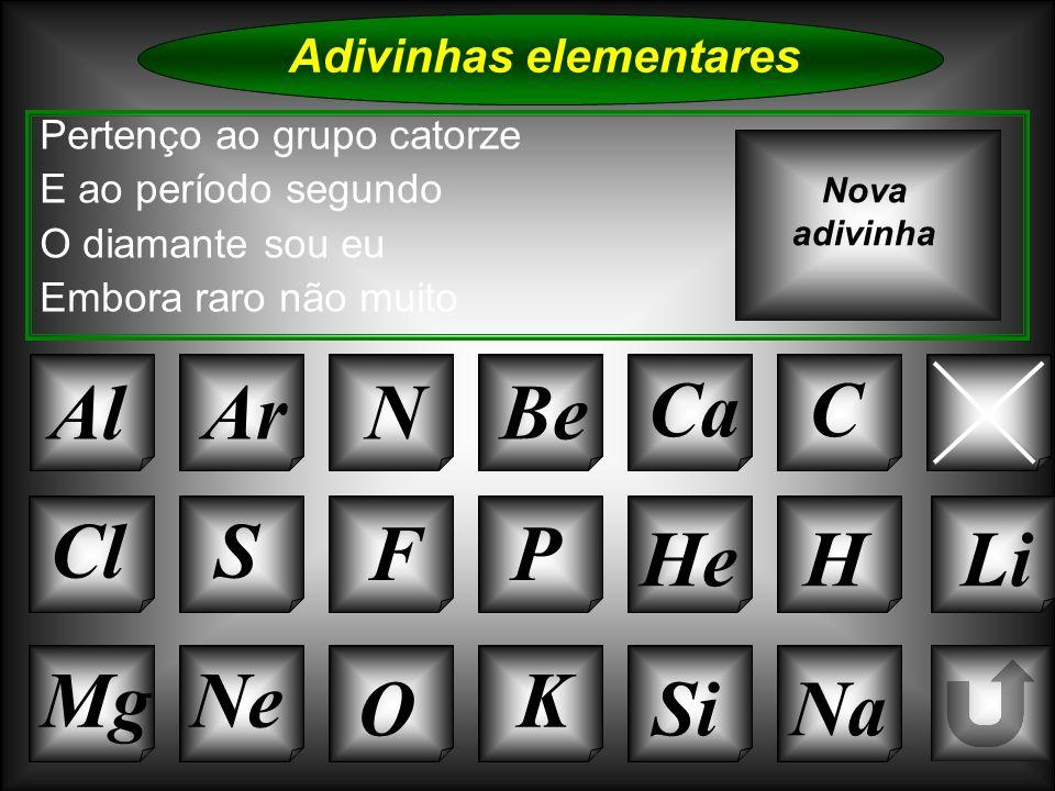 Na Adivinhas elementares AlArNBe CaC B K Si Cl O Ne S FP HeHLi Sou da família do berílio Mas sou de maior tamanho O grupo a que pertenço É o número atómico que tenho Nova adivinha
