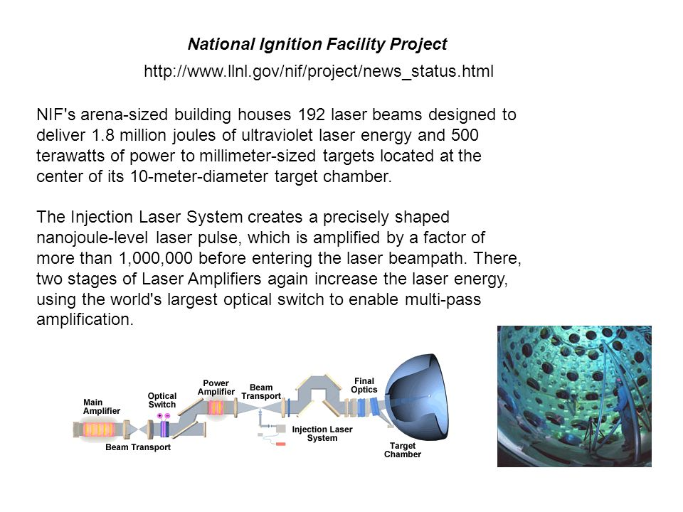 http://www.llnl.gov/nif/project/news_status.html National Ignition Facility Project NIF's arena-sized building houses 192 laser beams designed to deli