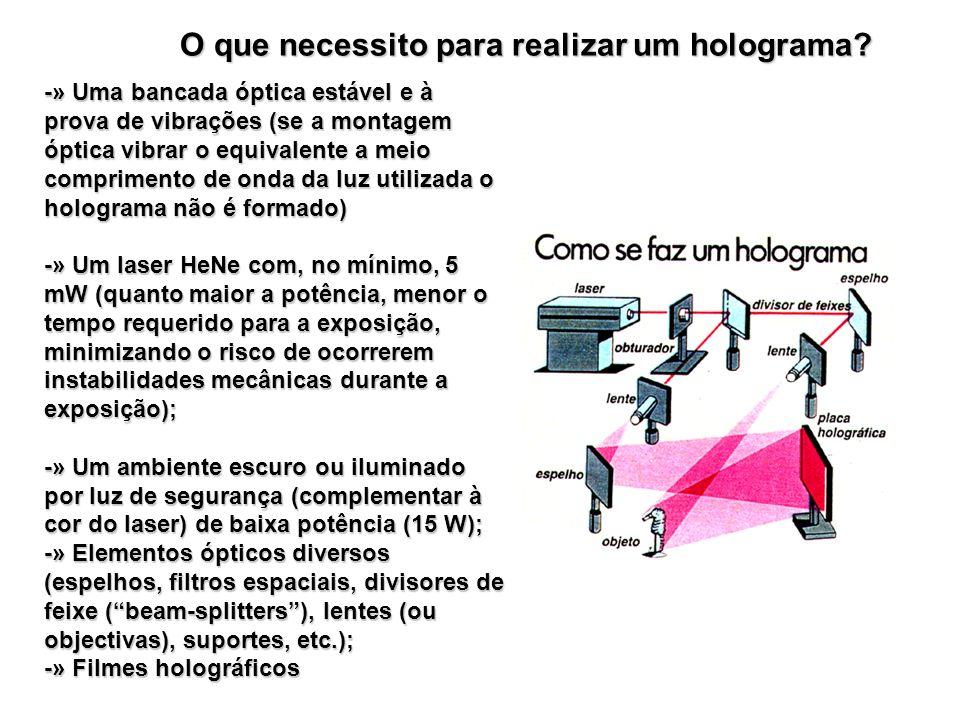 O que necessito para realizar um holograma? -» Uma bancada óptica estável e à prova de vibrações (se a montagem óptica vibrar o equivalente a meio com