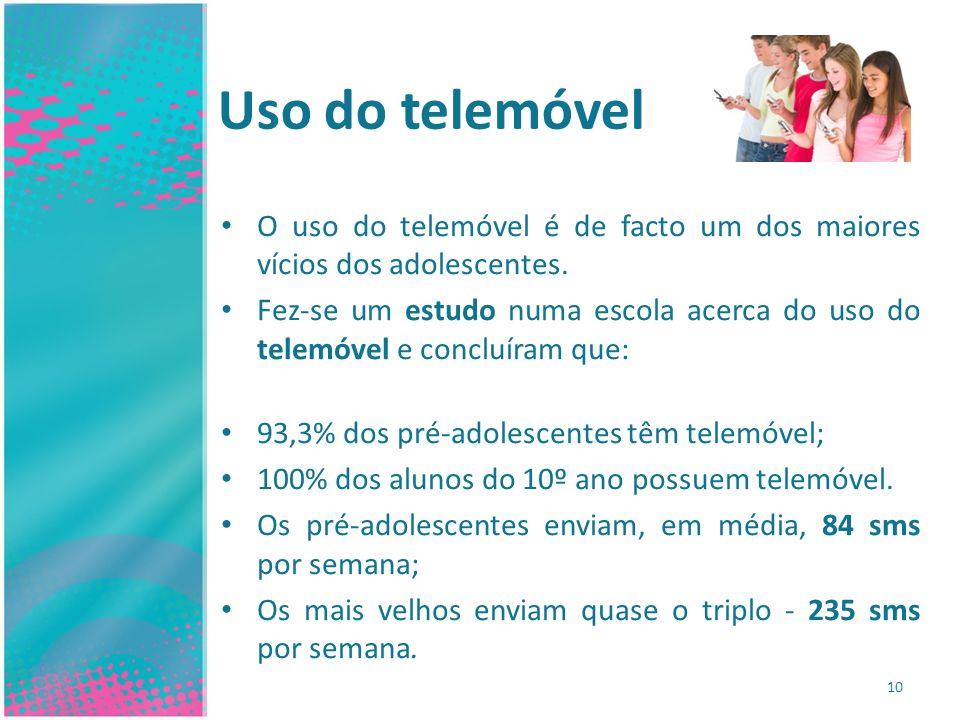 Uso do telemóvel O uso do telemóvel é de facto um dos maiores vícios dos adolescentes. Fez-se um estudo numa escola acerca do uso do telemóvel e concl