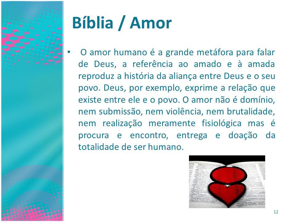 Bíblia / Amor O amor humano é a grande metáfora para falar de Deus, a referência ao amado e à amada reproduz a história da aliança entre Deus e o seu