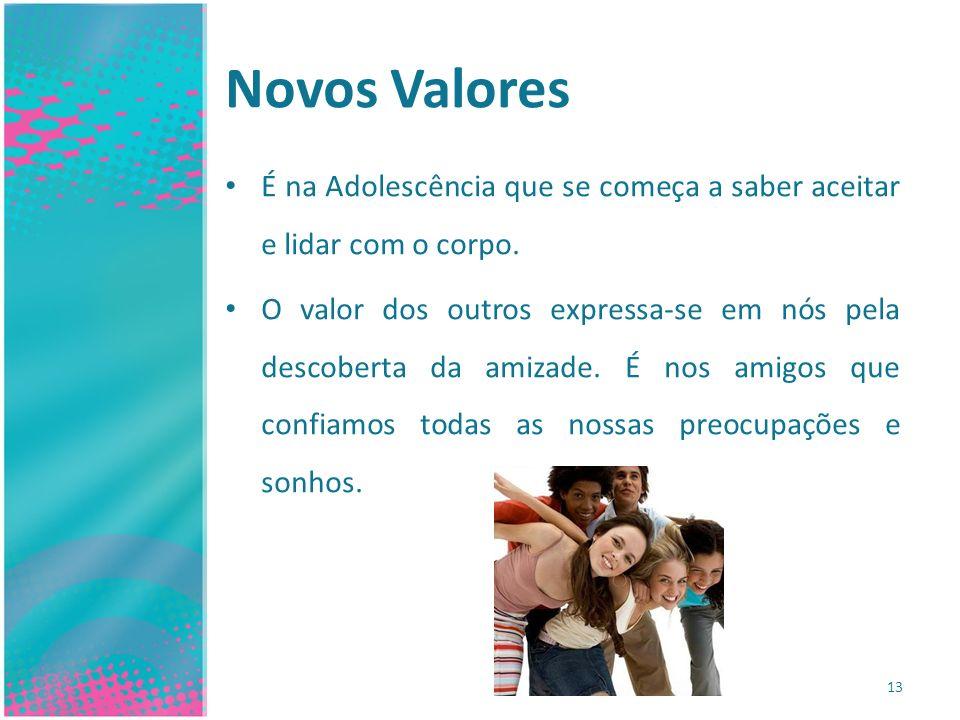 Novos Valores É na Adolescência que se começa a saber aceitar e lidar com o corpo. O valor dos outros expressa-se em nós pela descoberta da amizade. É