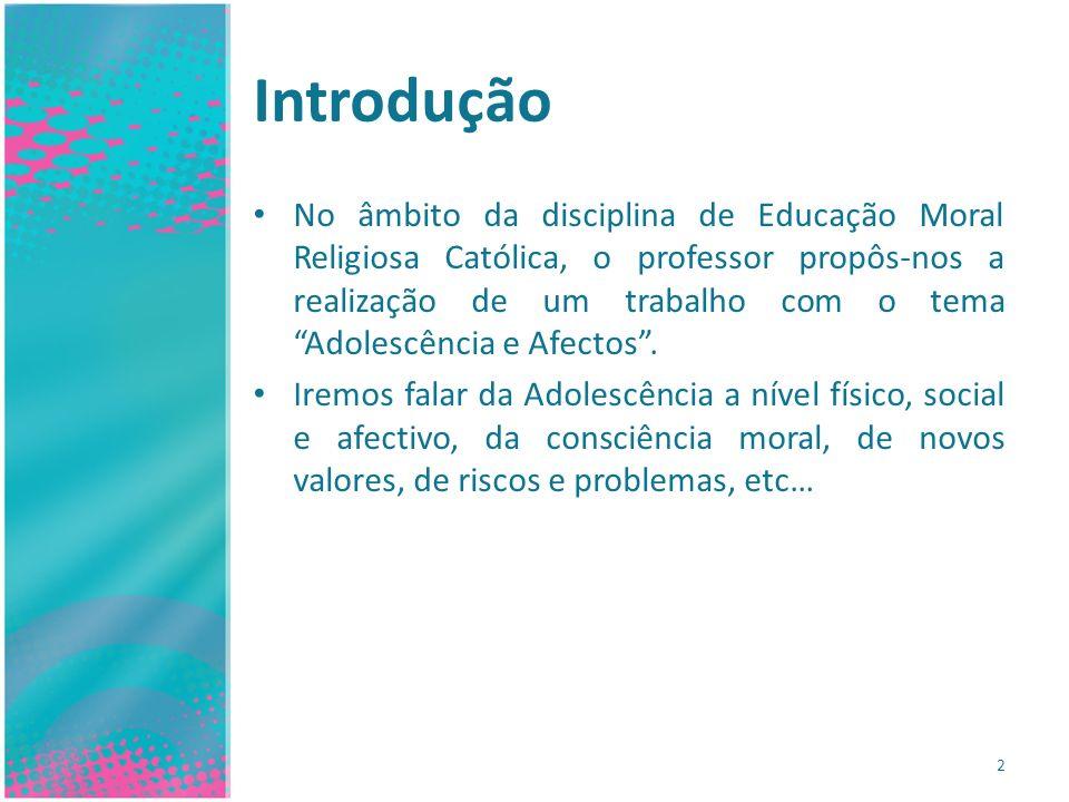 Introdução No âmbito da disciplina de Educação Moral Religiosa Católica, o professor propôs-nos a realização de um trabalho com o tema Adolescência e