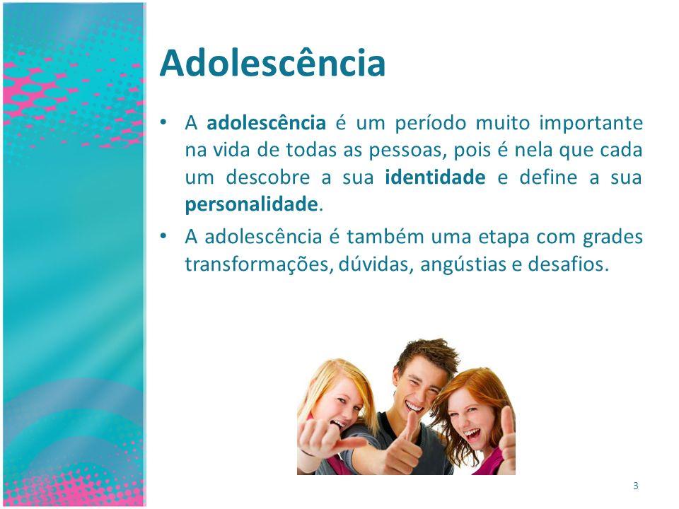 Adolescência A adolescência é um período muito importante na vida de todas as pessoas, pois é nela que cada um descobre a sua identidade e define a su