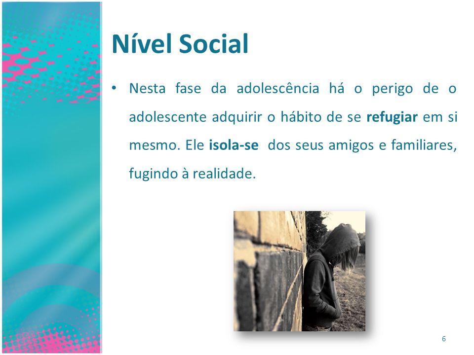 Nível Social 6 Nesta fase da adolescência há o perigo de o adolescente adquirir o hábito de se refugiar em si mesmo. Ele isola-se dos seus amigos e fa