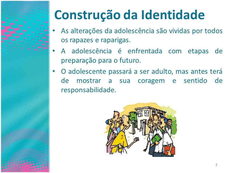 Construção da Identidade As alterações da adolescência são vividas por todos os rapazes e raparigas. A adolescência é enfrentada com etapas de prepara