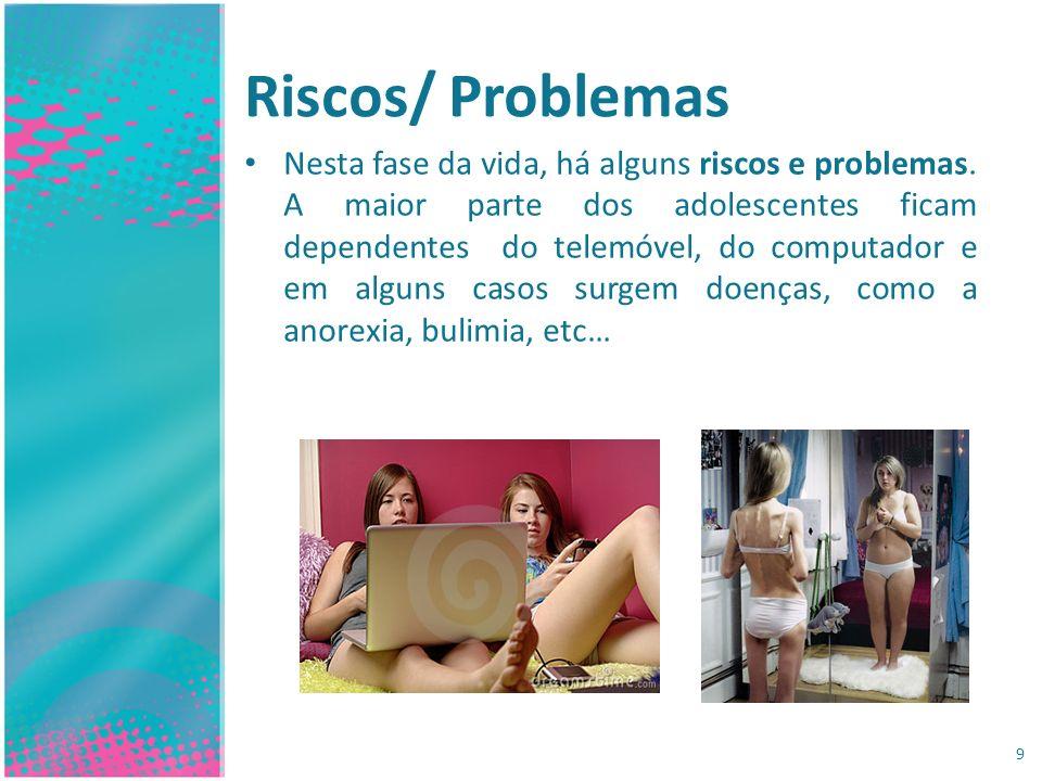 Riscos/ Problemas Nesta fase da vida, há alguns riscos e problemas. A maior parte dos adolescentes ficam dependentes do telemóvel, do computador e em