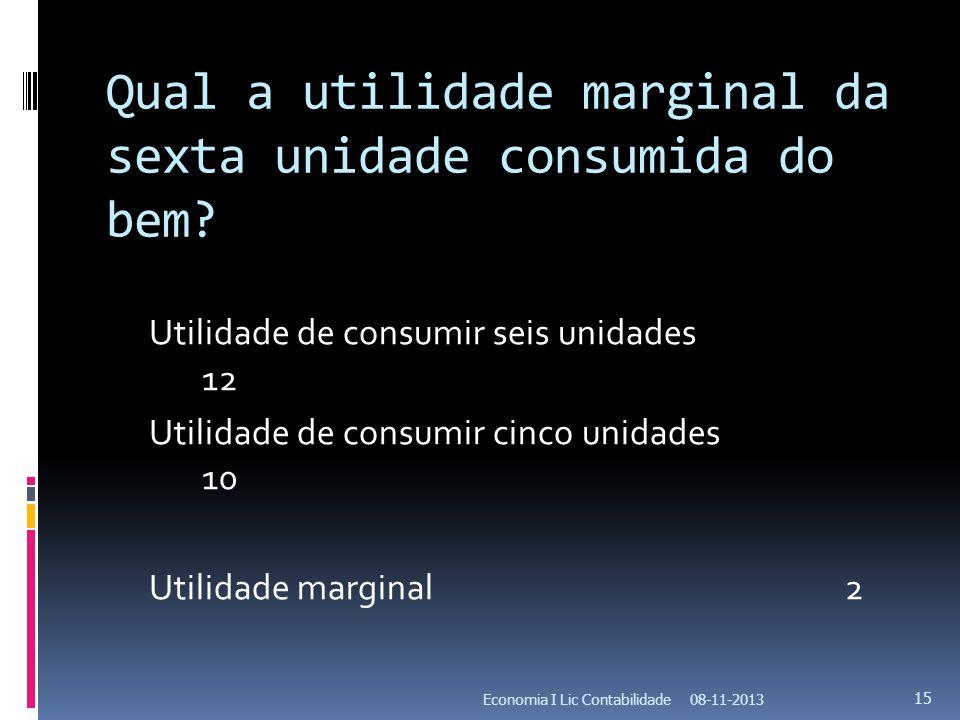 Qual a utilidade marginal da sexta unidade consumida do bem? Utilidade de consumir seis unidades 12 Utilidade de consumir cinco unidades 10 Utilidade