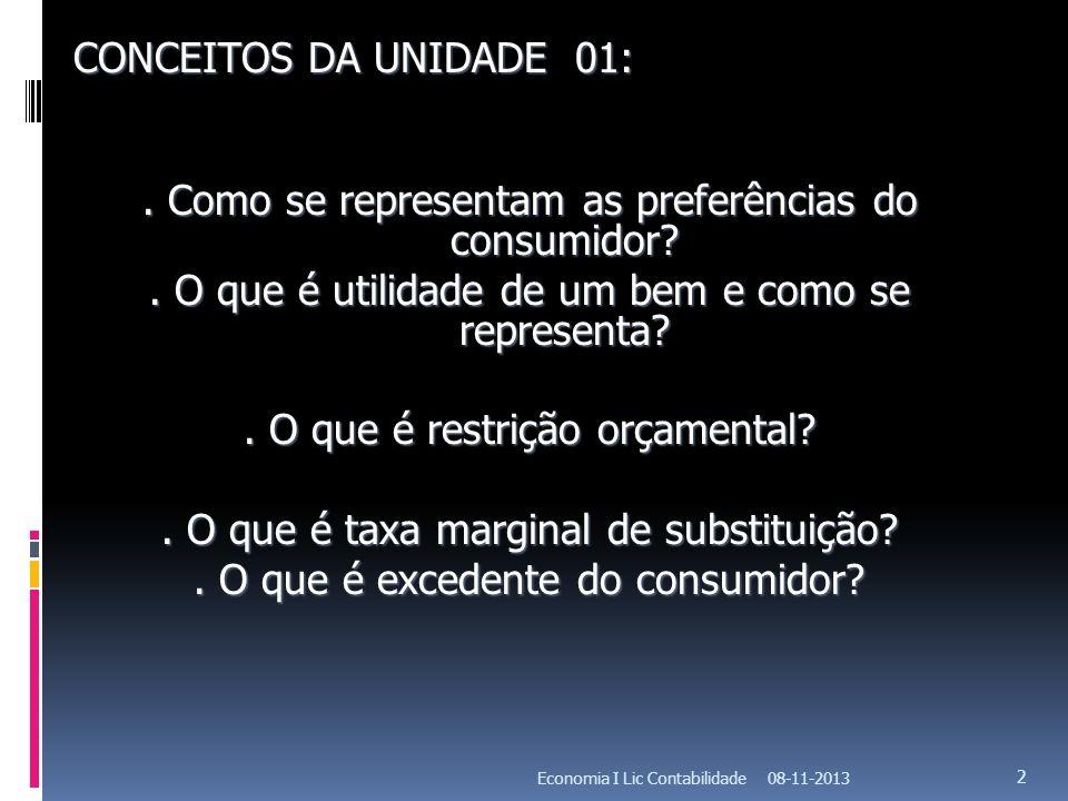 08-11-2013Economia I Lic Contabilidade 33 CURVAS DE INDIFERENÇA Representação gráfica de um cabaz de consumo indiferentes para o consumidor, ou seja, cabazes que trazem a mesma satisfação.
