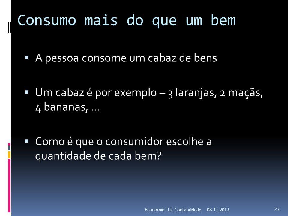 Consumo mais do que um bem A pessoa consome um cabaz de bens Um cabaz é por exemplo – 3 laranjas, 2 maçãs, 4 bananas, … Como é que o consumidor escolh