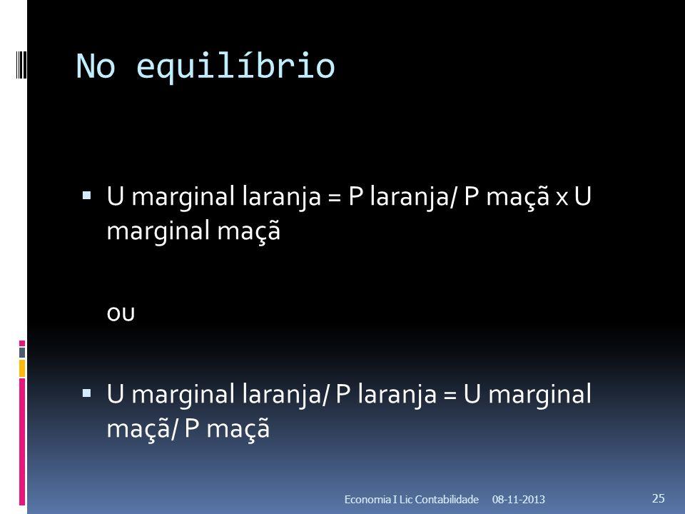 No equilíbrio U marginal laranja = P laranja/ P maçã x U marginal maçã ou U marginal laranja/ P laranja = U marginal maçã/ P maçã 08-11-2013Economia I