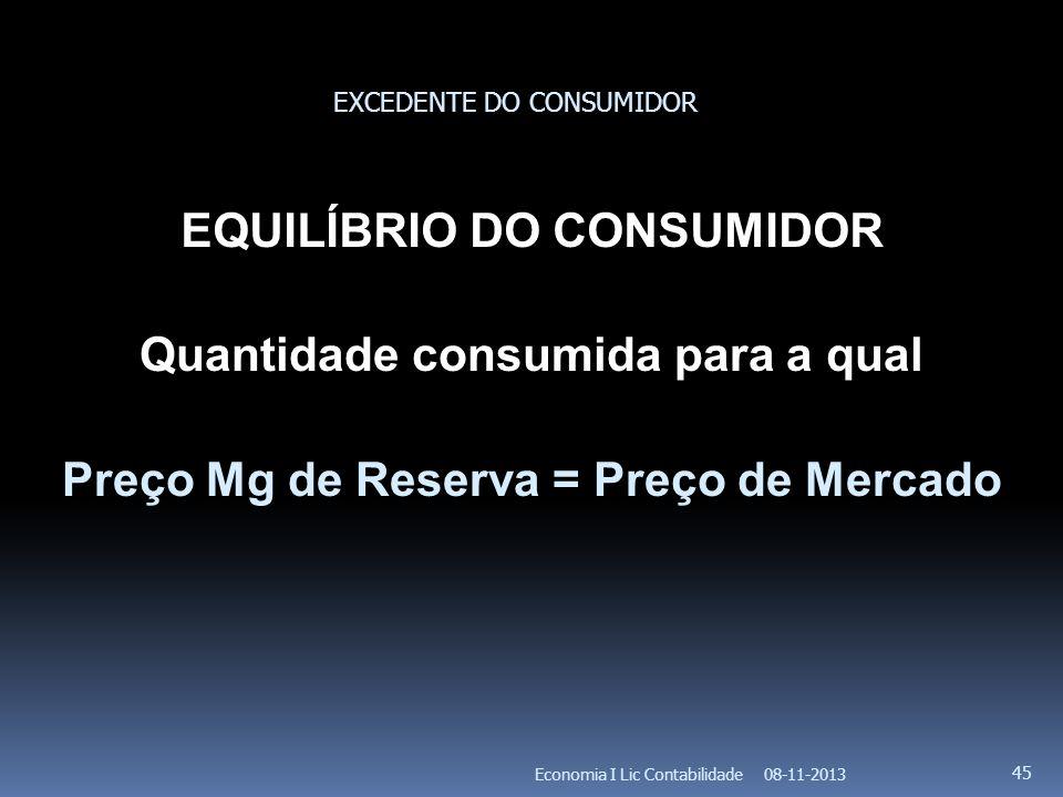 08-11-2013Economia I Lic Contabilidade 45 EQUILÍBRIO DO CONSUMIDOR Quantidade consumida para a qual Preço Mg de Reserva = Preço de Mercado EXCEDENTE D