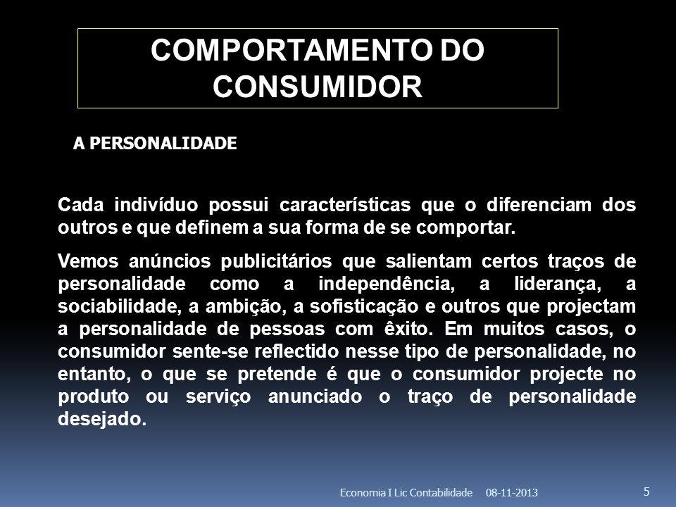 08-11-2013Economia I Lic Contabilidade 6 COMPORTAMENTO DO CONSUMIDOR Muitos estudos puseram em evidência a relação que existe entre a imagem que um consumidor tem de si mesmo e os produtos que compra.