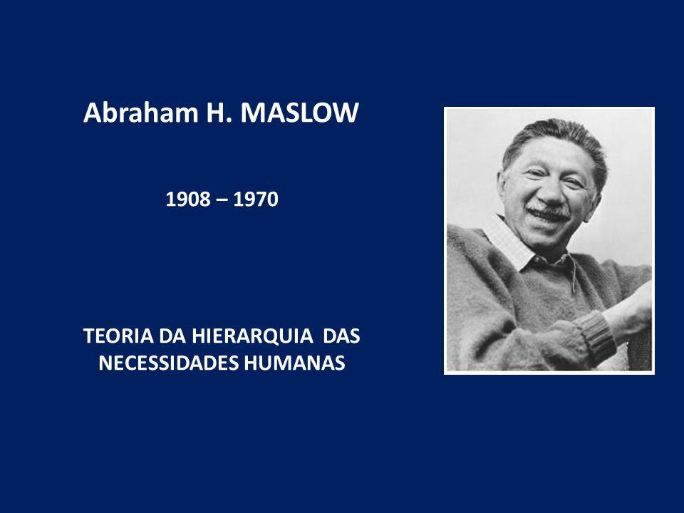 Abraham H. MASLOW 1908 – 1970 TEORIA DA HIERARQUIA DAS NECESSIDADES HUMANAS
