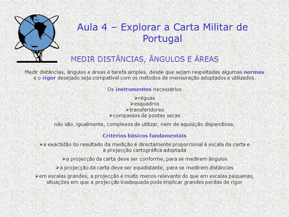 Aula 4 – Explorar a Carta Militar de Portugal MEDIR DISTÂNCIAS, ÂNGULOS E ÁREAS Medir distâncias, ângulos e áreas é tarefa simples, desde que sejam re
