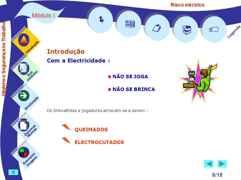 Risco eléctrico 8/18 Introdução Com a Electricidade : Os brincalhões e jogadores arriscam-se a serem : Exemplos Imagens Sub módulos Sinalização Diplom