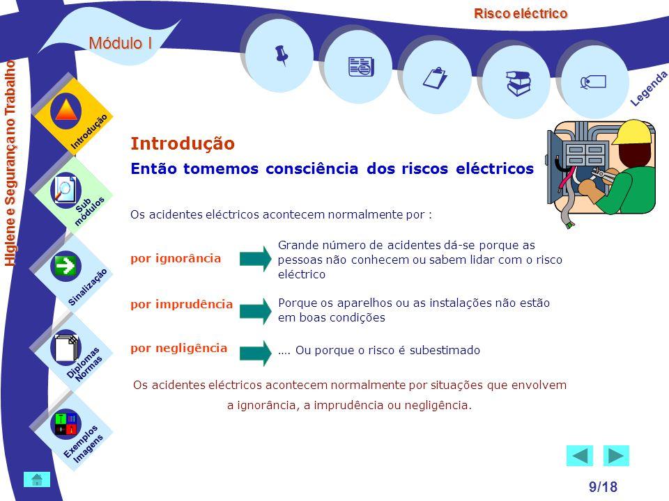 Risco eléctrico 9/18 Introdução Então tomemos consciência dos riscos eléctricos Os acidentes eléctricos acontecem normalmente por : por ignorância por