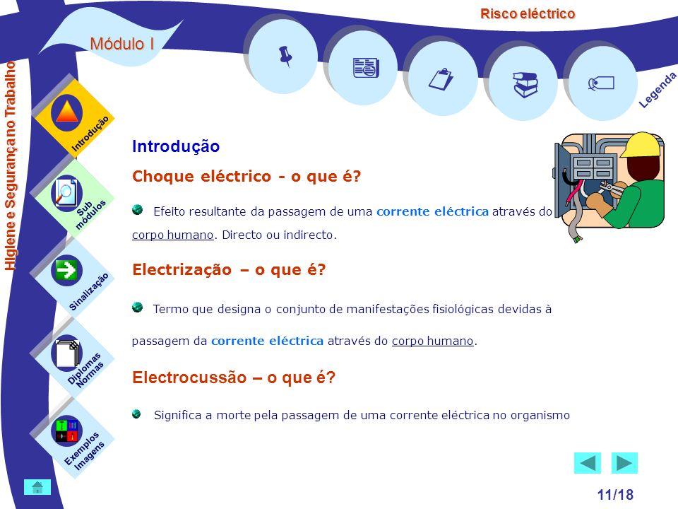 Risco eléctrico 11/18 Introdução Choque eléctrico - o que é? Efeito resultante da passagem de uma corrente eléctrica através do corpo humano. Directo
