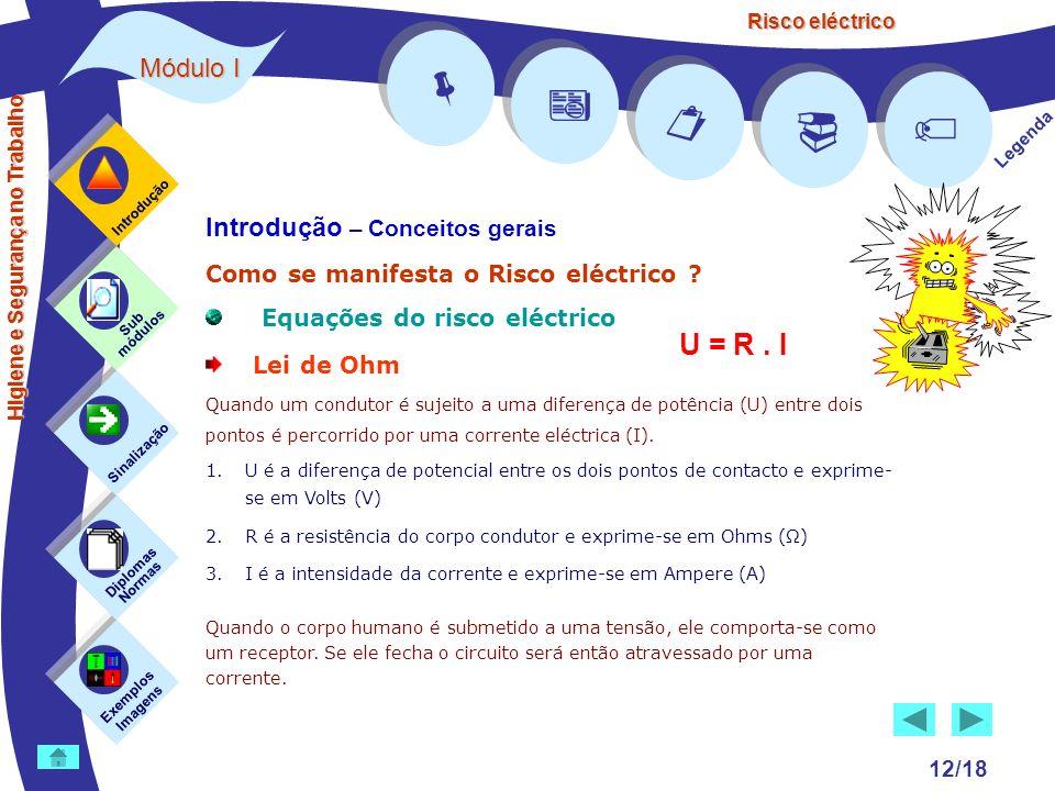 Risco eléctrico 12/18 Introdução – Conceitos gerais Como se manifesta o Risco eléctrico ? Equações do risco eléctrico Lei de Ohm Quando um condutor é