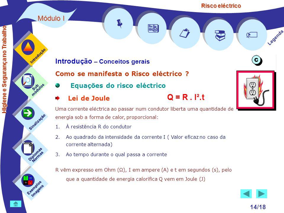 Risco eléctrico 14/18 Introdução – Conceitos gerais Como se manifesta o Risco eléctrico ? Equações do risco eléctrico Lei de Joule Uma corrente eléctr