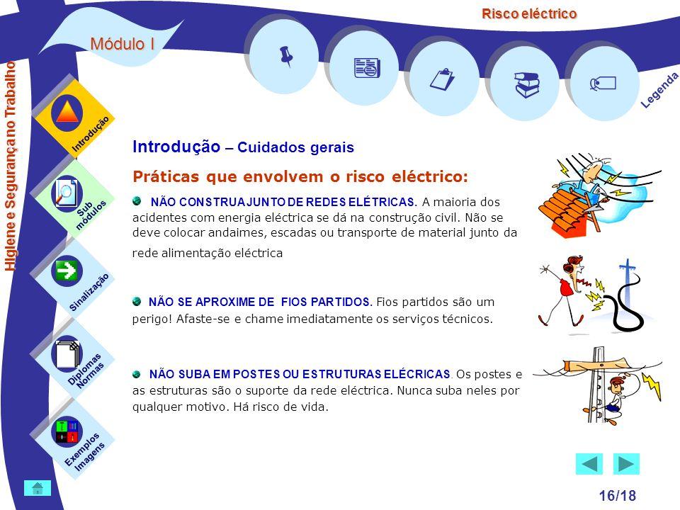 Risco eléctrico 16/18 Introdução – Cuidados gerais Práticas que envolvem o risco eléctrico: NÃO CONSTRUA JUNTO DE REDES ELÉTRICAS. A maioria dos acide