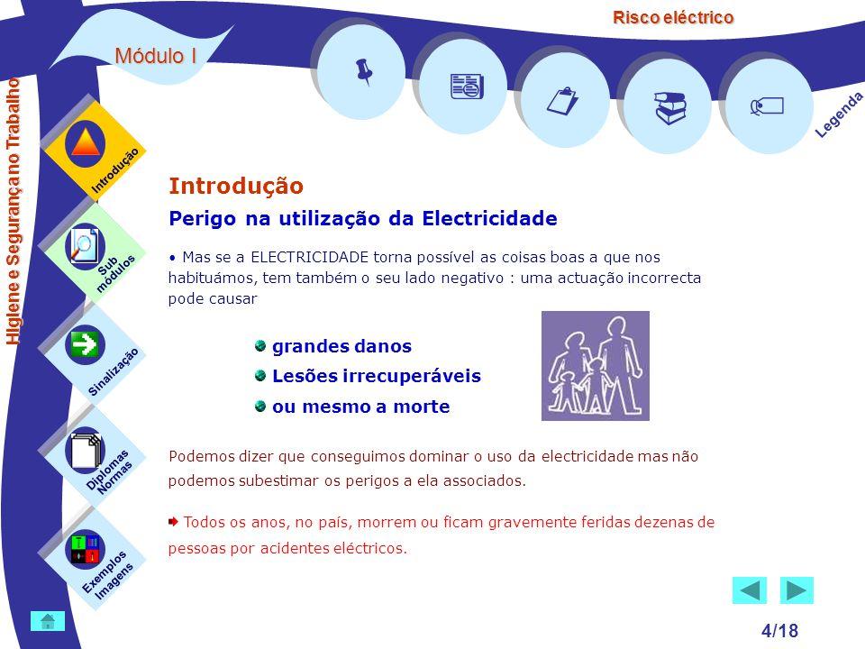 Risco eléctrico 4/18 Introdução Perigo na utilização da Electricidade Mas se a ELECTRICIDADE torna possível as coisas boas a que nos habituámos, tem t