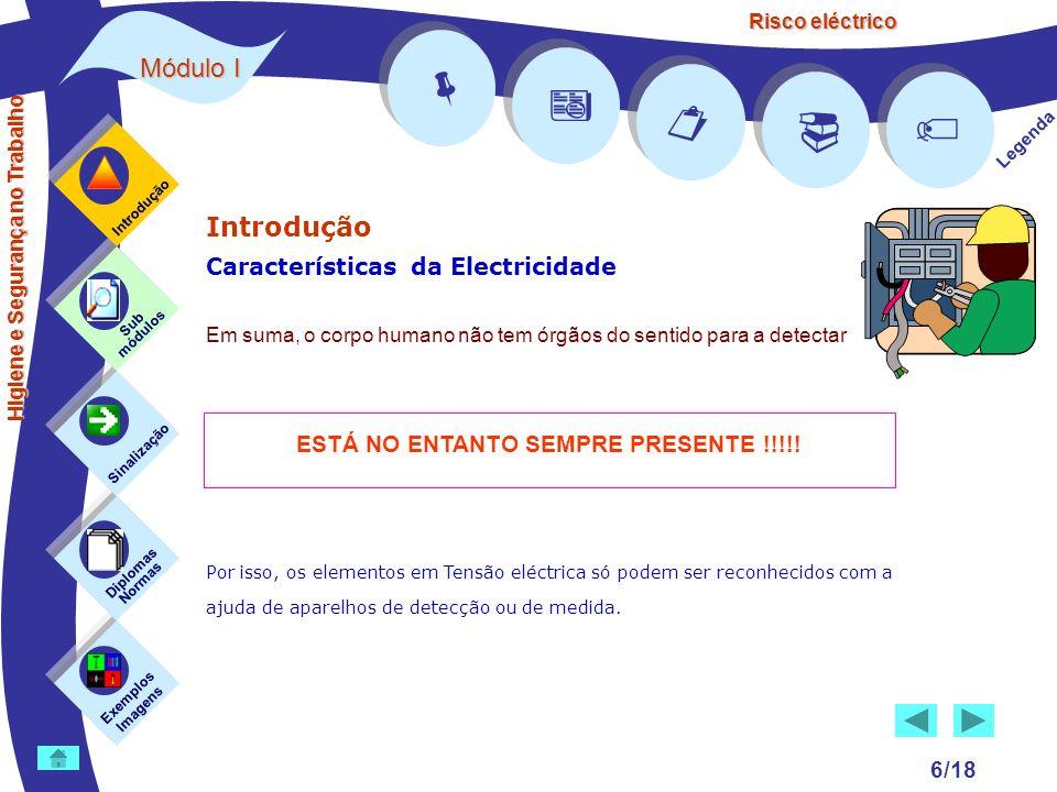 Risco eléctrico 6/18 Introdução Características da Electricidade Em suma, o corpo humano não tem órgãos do sentido para a detectar Por isso, os elemen