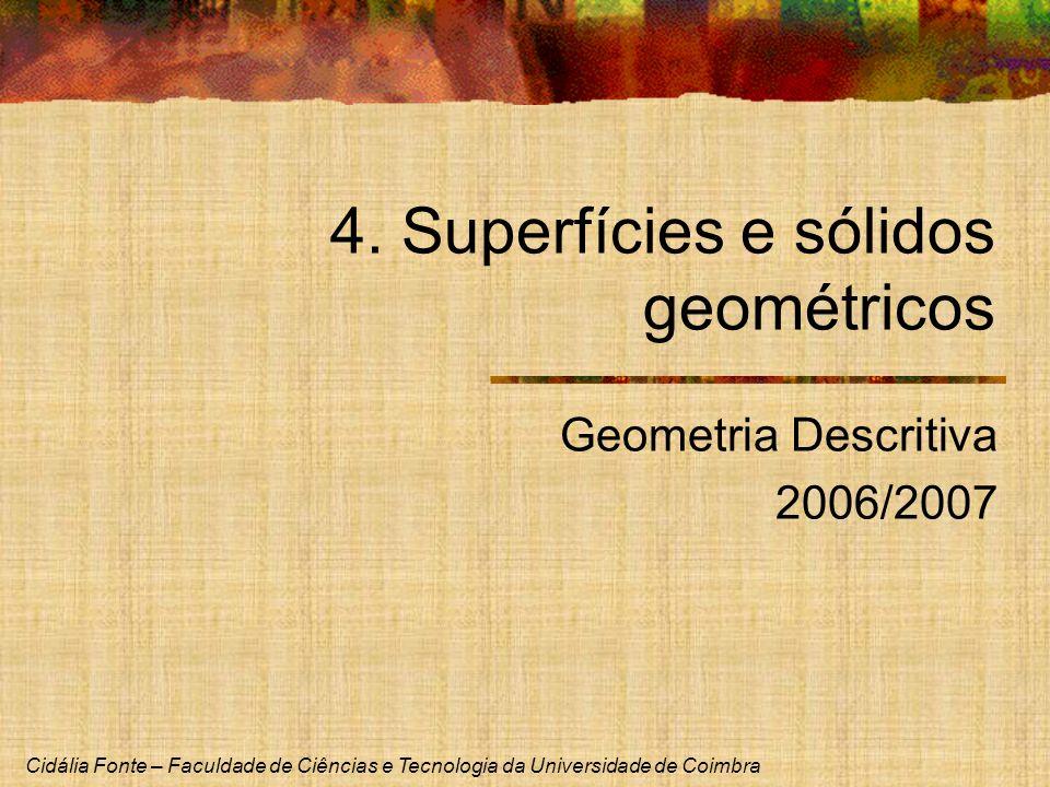 Cidália Fonte – Faculdade de Ciências e Tecnologia da Universidade de Coimbra 4. Superfícies e sólidos geométricos Geometria Descritiva 2006/2007