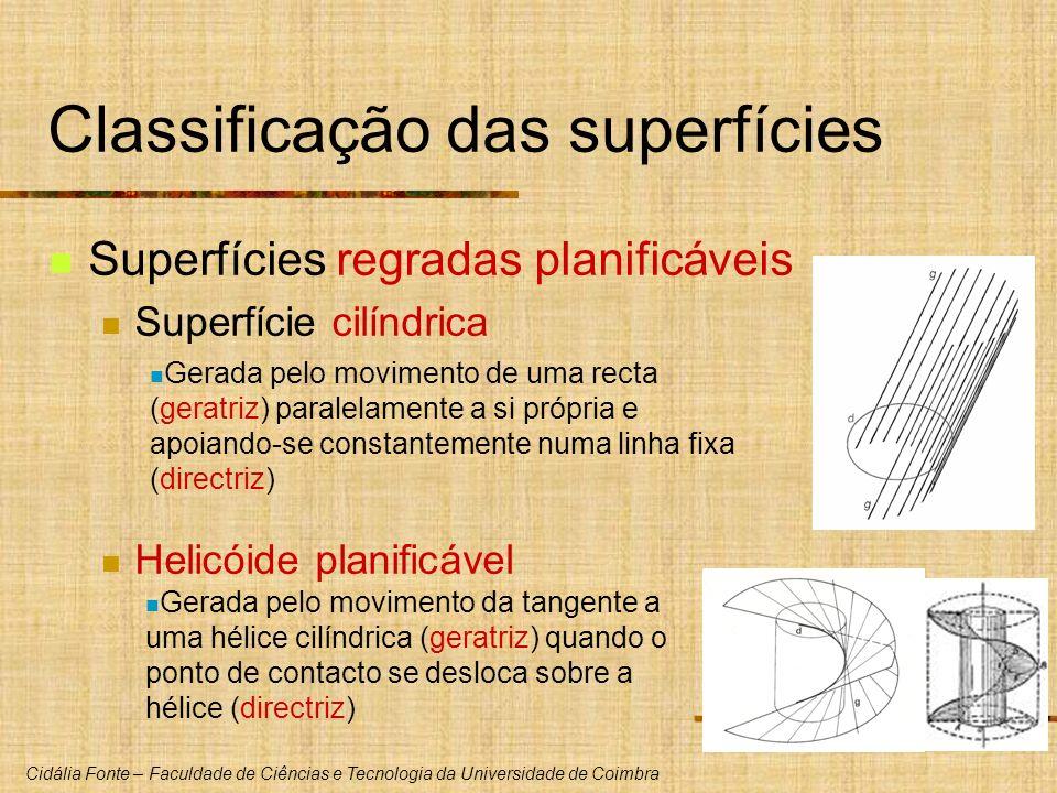 Cidália Fonte – Faculdade de Ciências e Tecnologia da Universidade de Coimbra Classificação das superfícies Superfícies regradas planificáveis Superfí