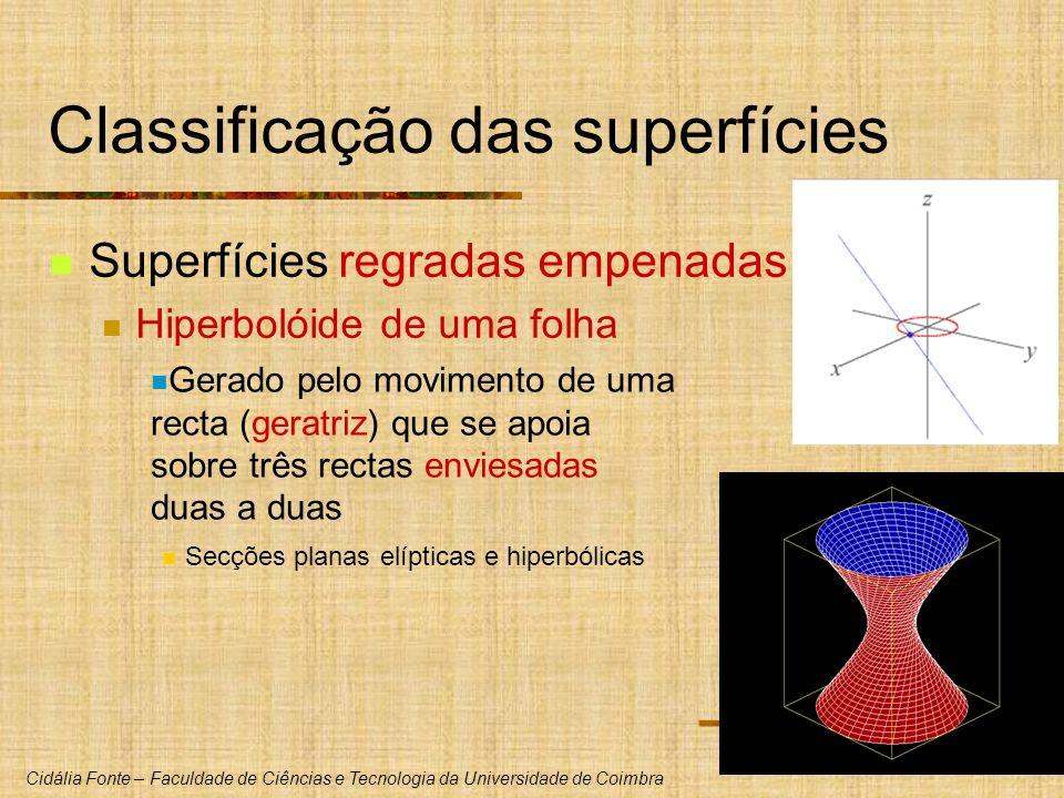 Cidália Fonte – Faculdade de Ciências e Tecnologia da Universidade de Coimbra Classificação das superfícies Superfícies regradas empenadas Hiperbolóid