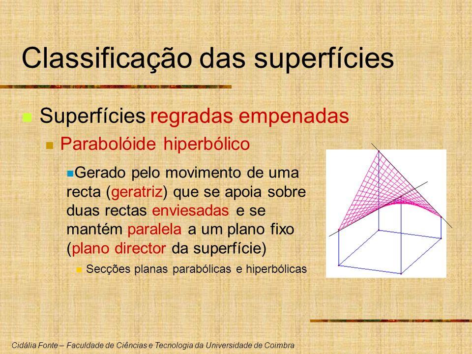 Cidália Fonte – Faculdade de Ciências e Tecnologia da Universidade de Coimbra Classificação das superfícies Superfícies regradas empenadas Parabolóide