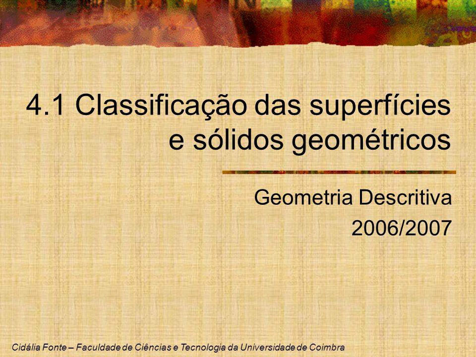 Cidália Fonte – Faculdade de Ciências e Tecnologia da Universidade de Coimbra 4.1 Classificação das superfícies e sólidos geométricos Geometria Descri