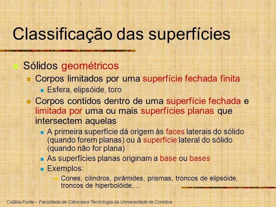 Cidália Fonte – Faculdade de Ciências e Tecnologia da Universidade de Coimbra Classificação das superfícies Sólidos geométricos Corpos limitados por u