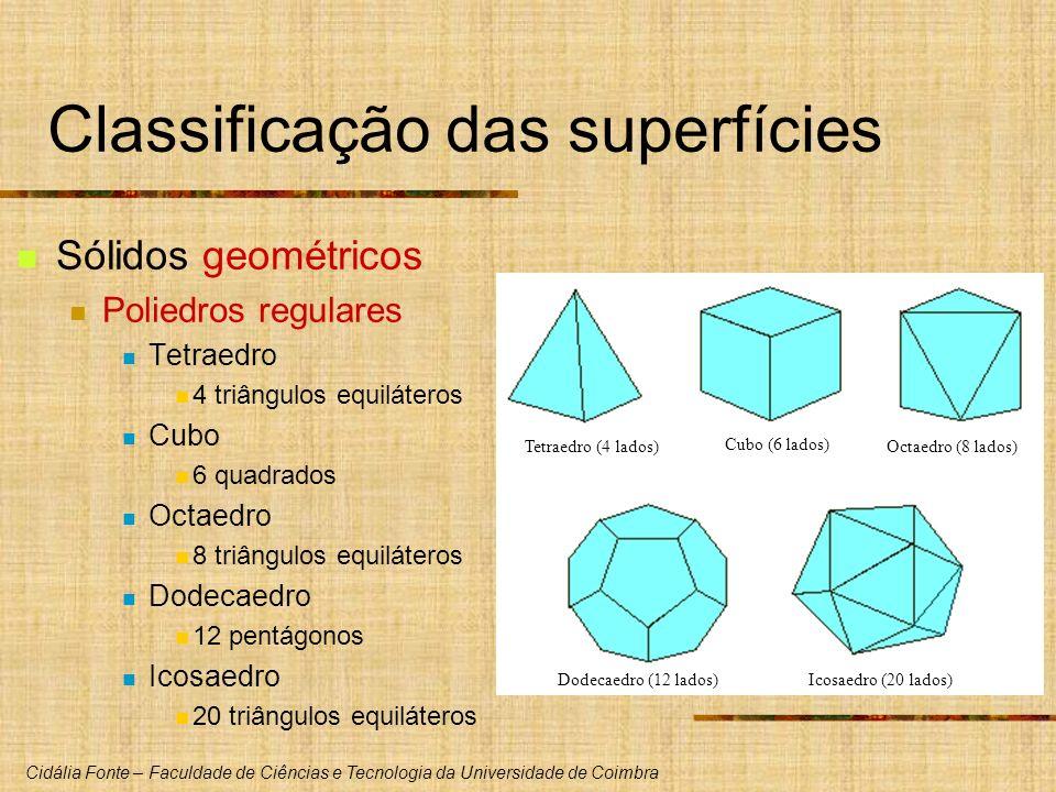 Cidália Fonte – Faculdade de Ciências e Tecnologia da Universidade de Coimbra Classificação das superfícies Sólidos geométricos Poliedros regulares Te