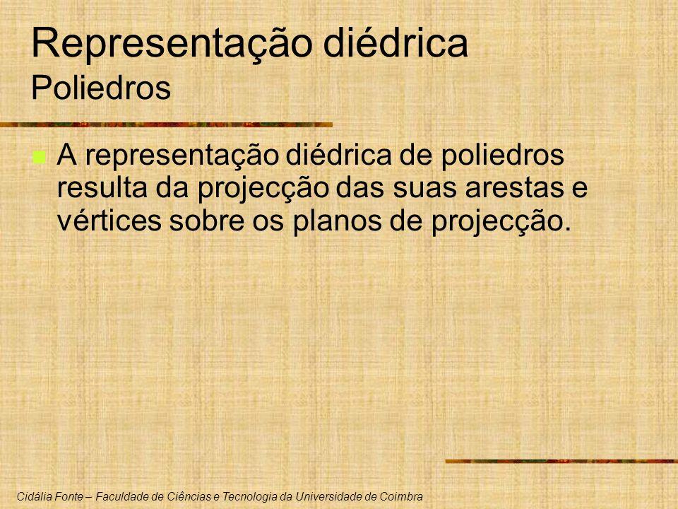 Cidália Fonte – Faculdade de Ciências e Tecnologia da Universidade de Coimbra Representação diédrica Poliedros A representação diédrica de poliedros r