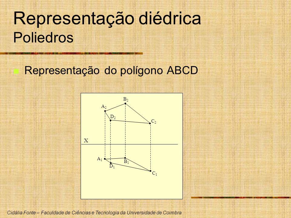 Cidália Fonte – Faculdade de Ciências e Tecnologia da Universidade de Coimbra Representação diédrica Poliedros Representação do polígono ABCD X A2A2 B